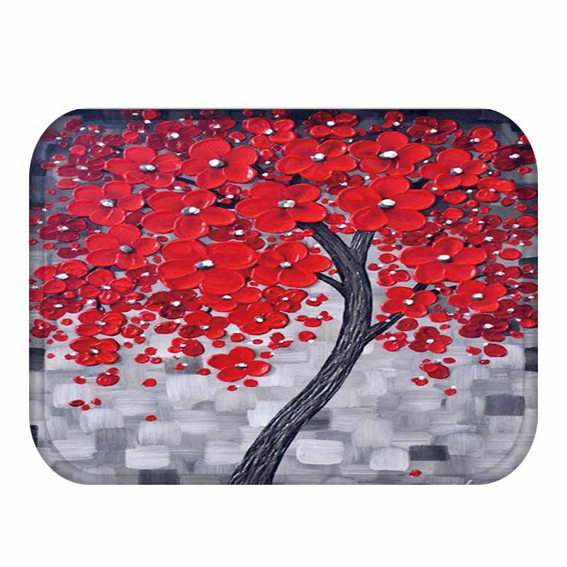 Honana BX-28 40x60cm 3D Painting Tree Pattern Coral Fleece Mat Absorbent Bathroom Anti Slip Carpet