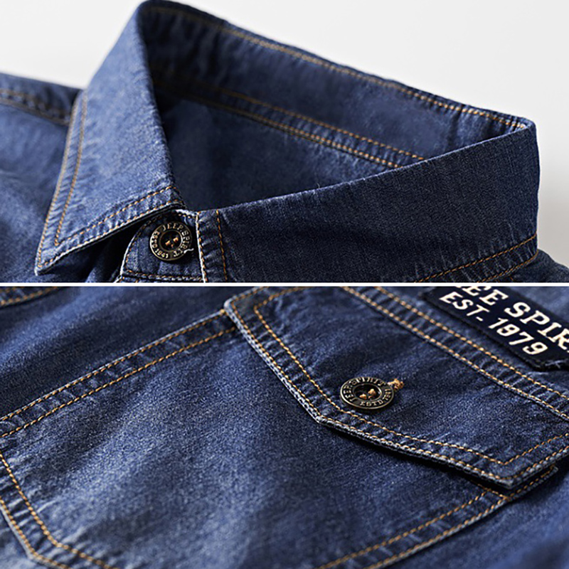 Denim Shirt Summer Casual Cotton Men Jean Cargo Shirts