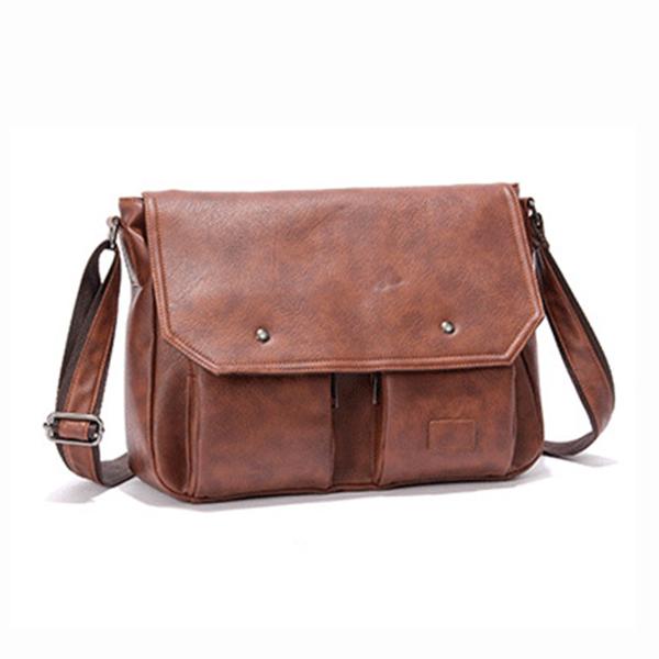 Men PU Leather Messenger Bag Large Capacity Business Shoulder Bag