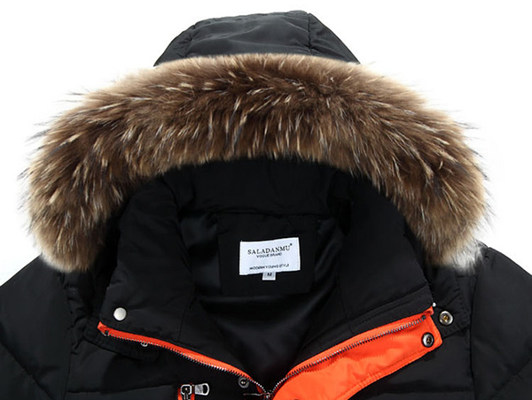 Large Size Mens Winter Thick Mid Long Coat Zipper Multi Pocket Hooded Fur Collar Outwear
