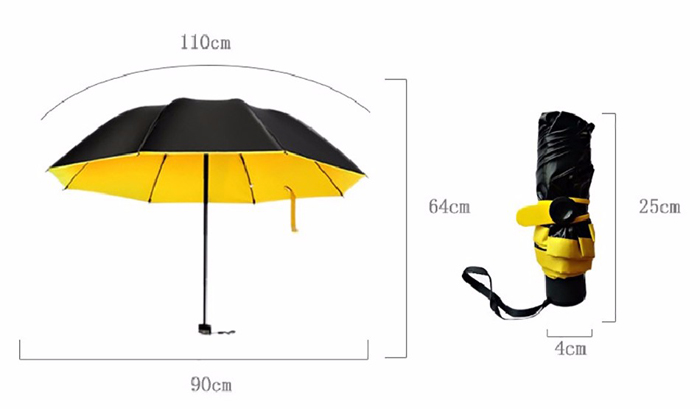 Mini Alloy Strong Frame Umbrella Pocket Portable Folding Windproof Sunshade Rainy Parasols