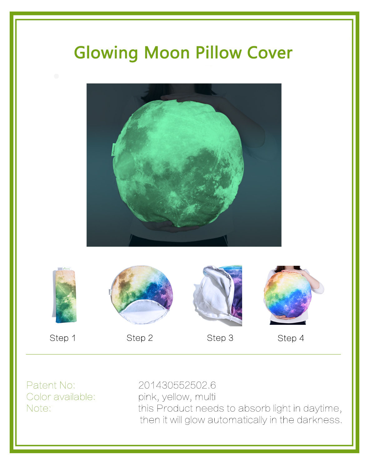 KCASA PX-L1 Luminous Moon Sofa Pillowcase Home Waist Pillow Cushion Cover Creative Night Light Pillow Case Gift
