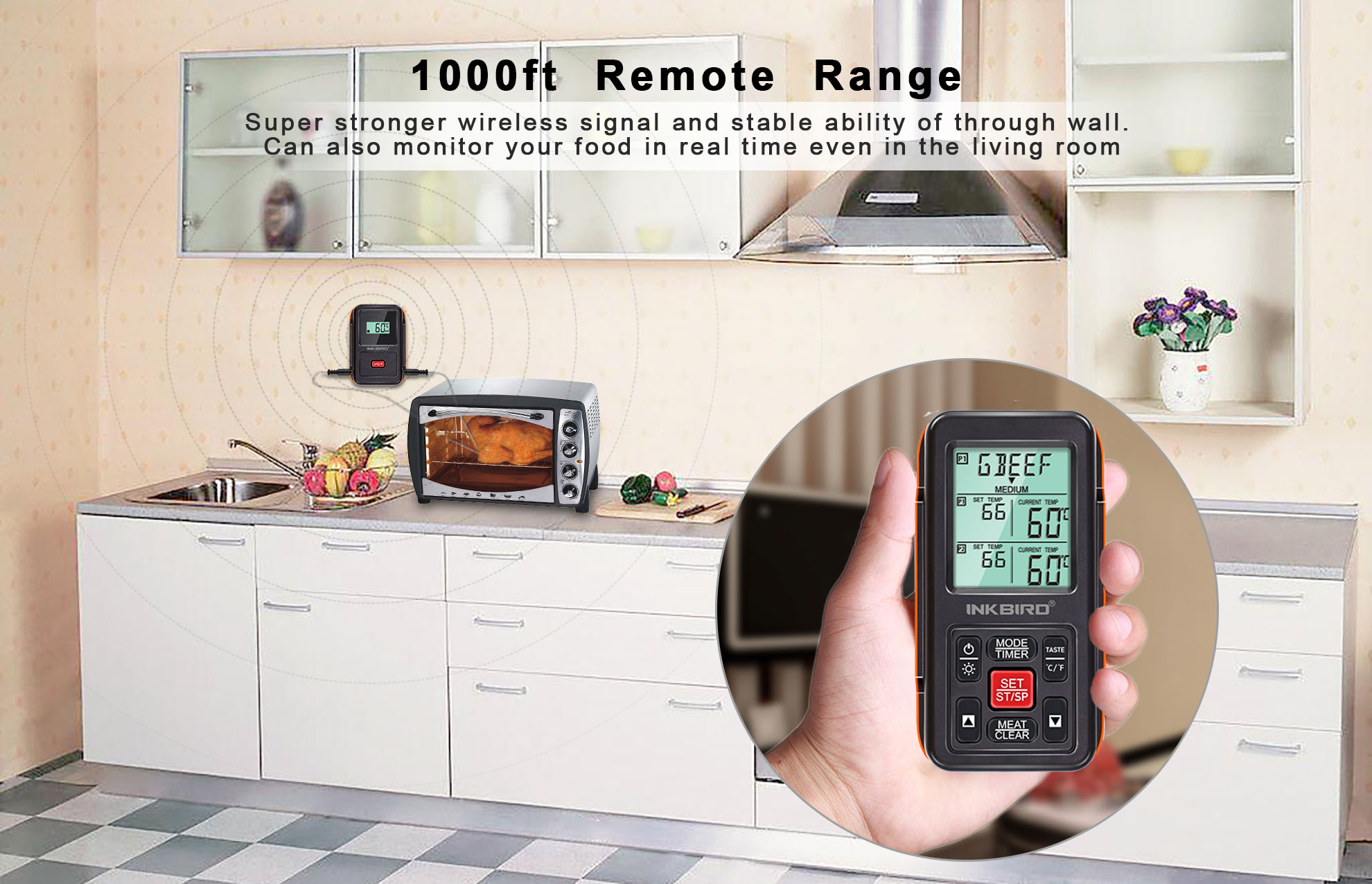 Inkbird IRF-2S Wireless 1000 Feet/300M Remote Digital Food Meat Cooking Thermometer Backlight Timer