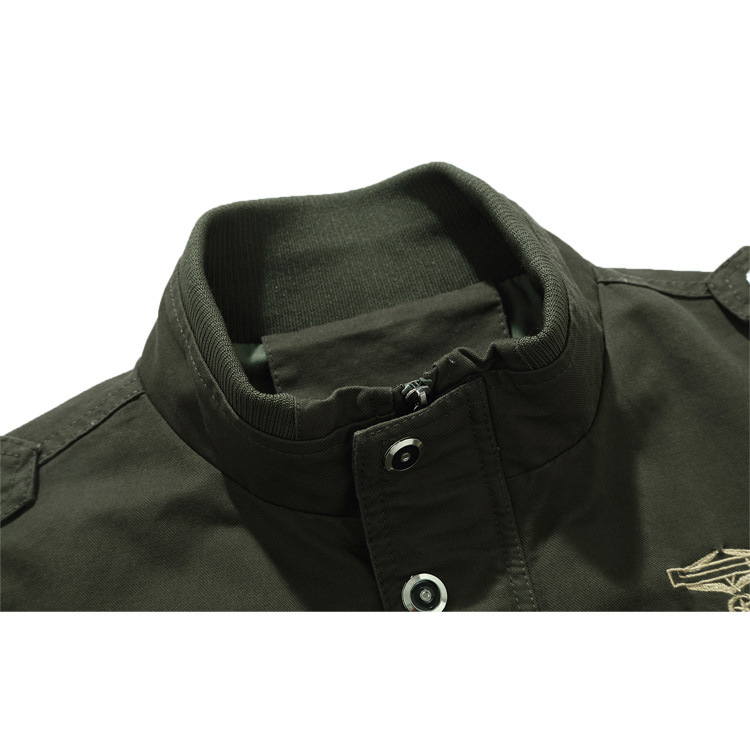 Mens Military Multi-Pockets Army Epaulet Cargo Cotton Jacket