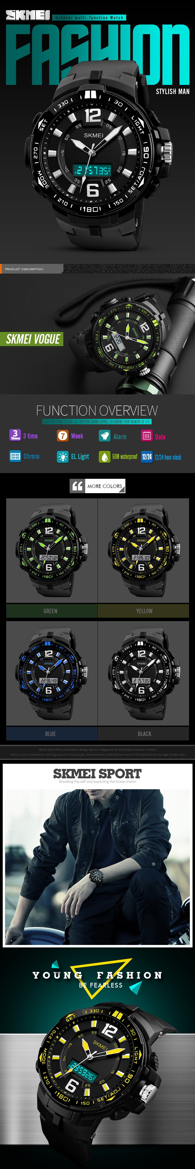 SKMEI 1273 Outdooors Men Digital Watch 50M Waterproof Multifunction Fashionable LED Wirstwatches