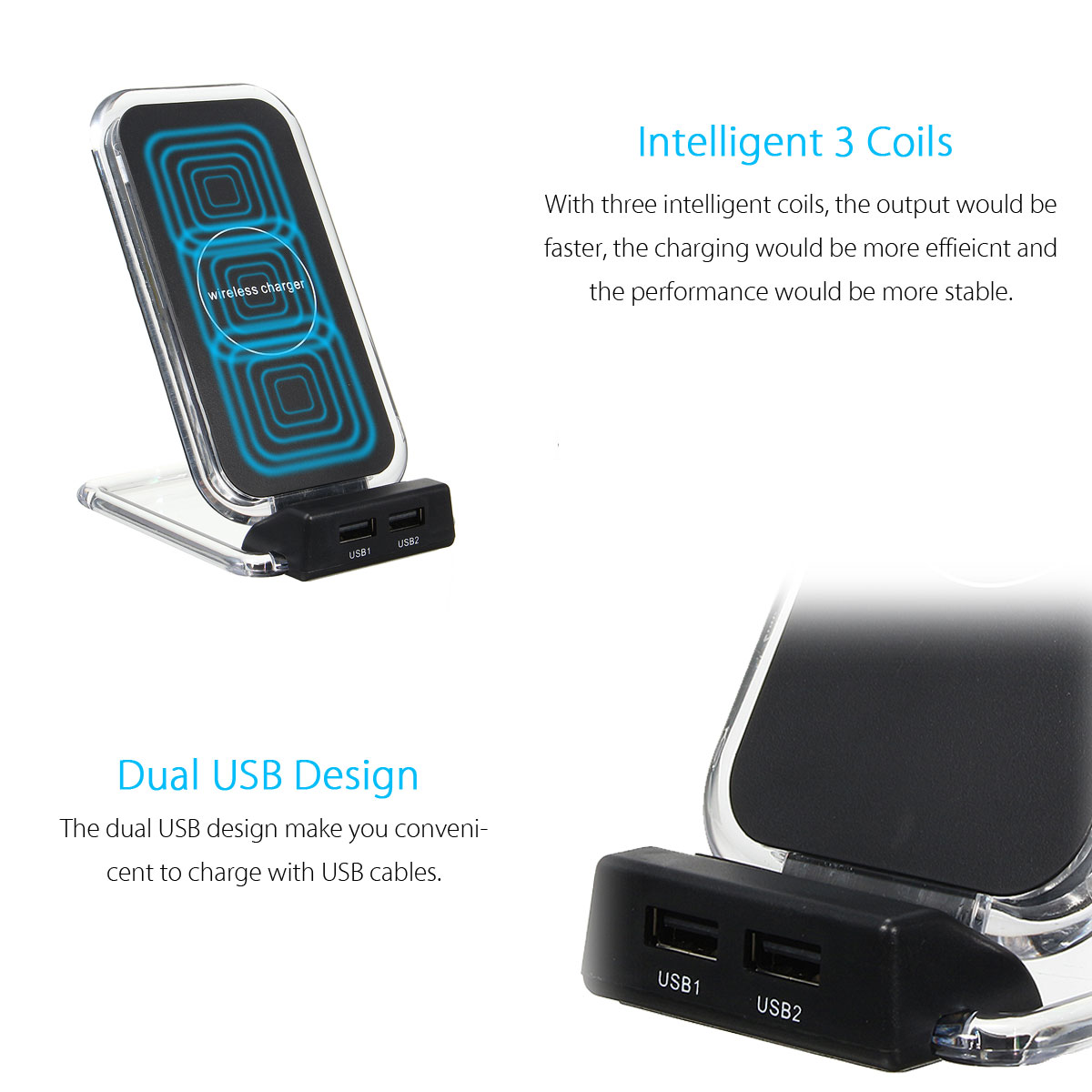 3 Coils Dual USB Ports Fast Charging Desktop Stand Qi Wireless Charger for Samsung S8 iPhone 8 X