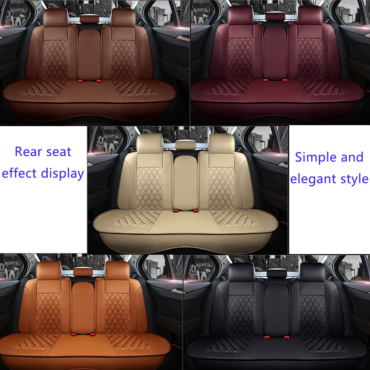 Leather Car Full Surround Seat Cover Cushion Protector Set Universal for 5 Seats Car Two Style