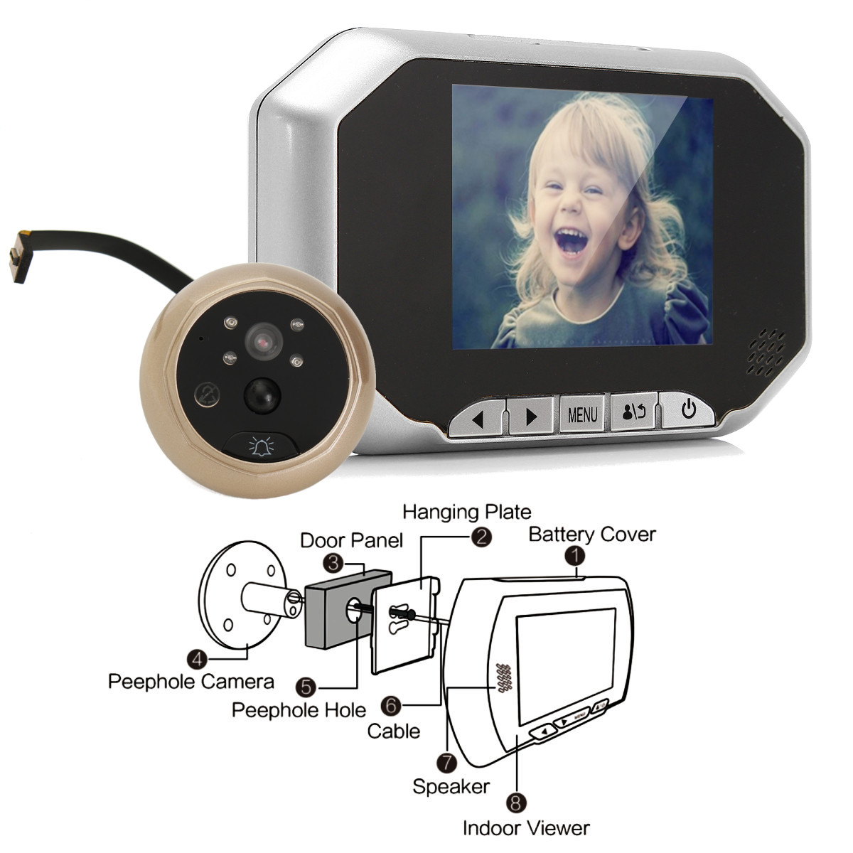 3.5inch LCD Doorbell Peephole Viewer Home Door Security Camera Video Monitor