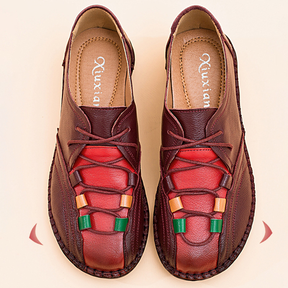 Comfortable Leather Lace Up Loafers For Women