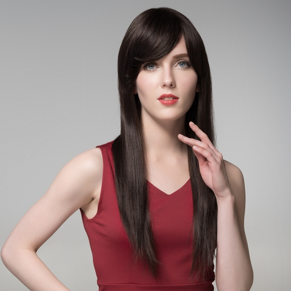 Straight Long Human Hair Side Bang Wig Virgin Remy Mono Top Capless 8 Colors