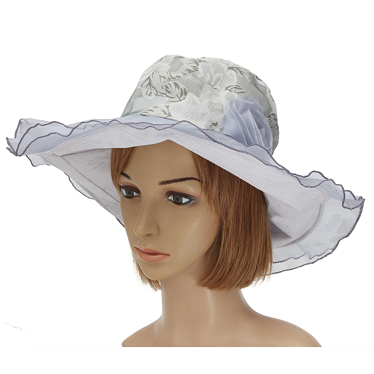 Women Ladies Floral Church Derby Wide Brim Summer Hat Wedding Dress Party Cap