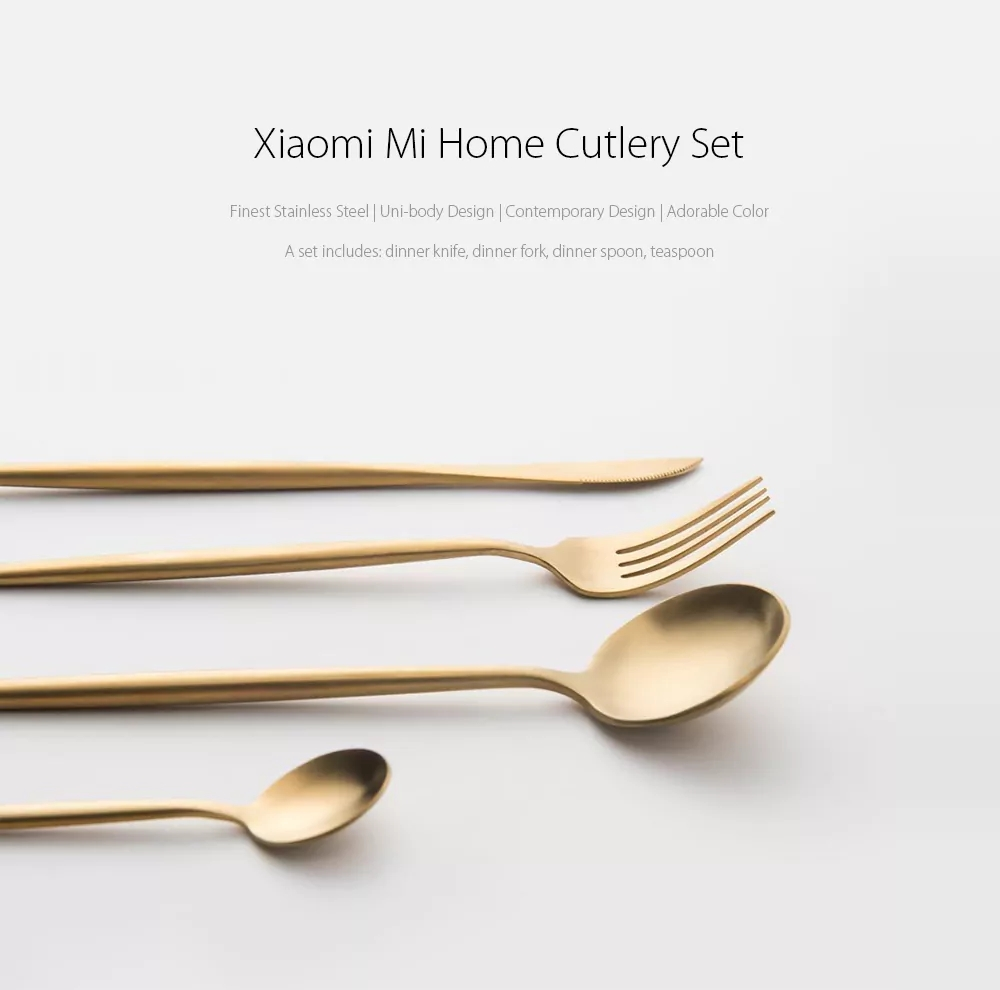4PCS Xiaomi Mi Home Polished Cutlery Stainless Steel Flatware Set Black/Golden/Silver