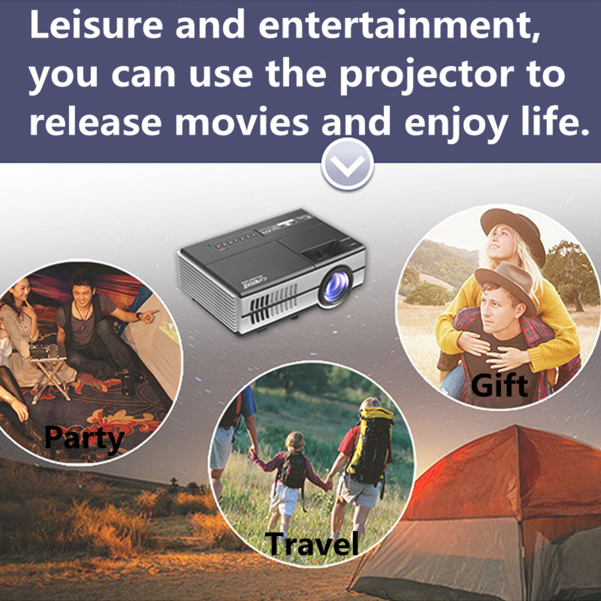 EUG 600D 1500Lumens LCD Full HD 1080p Portable 3D Projector 960 x 640 Resolution For Home Theater