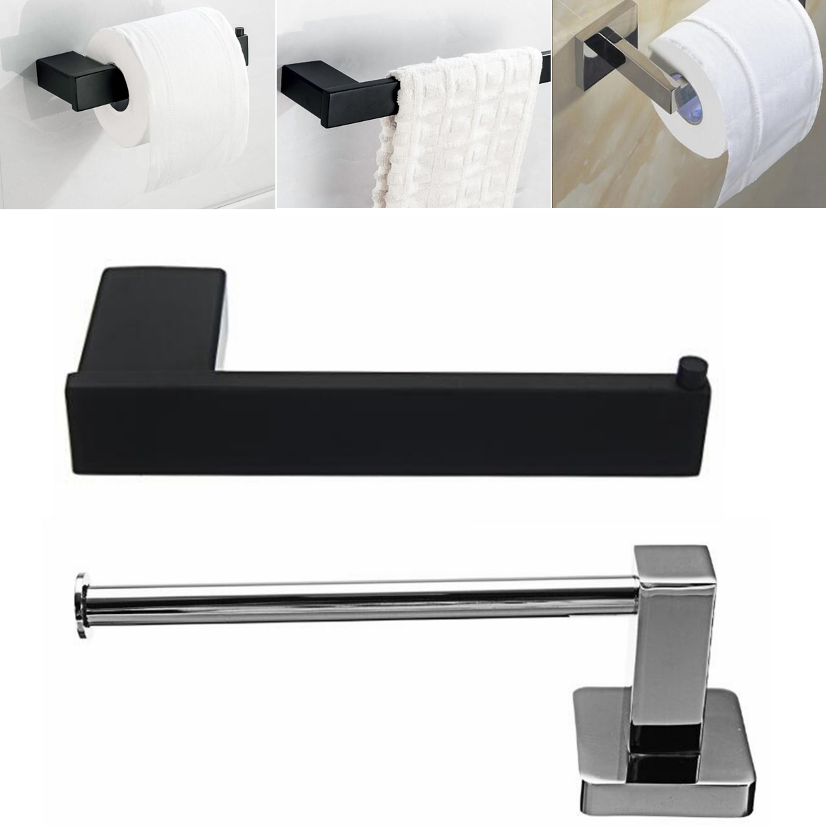 Chrome Stainless Steel Bathroom Toilet Paper Roll Holder Wall Rack Towel Bracket