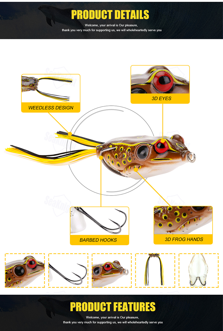 SeaKnight SK401 5PCS 13.5g 55mm/2.17in Topwater Soft Bait Floating Lure Bass Pike Fishing Lure