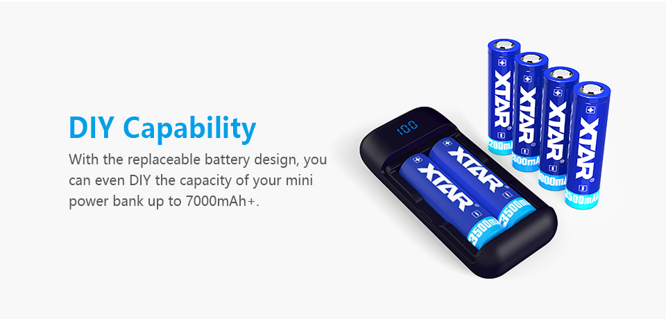 XTAR PB2 Rapid Smart Phone Power Bank & Hidden LCD Display 18650 Battery Charger 2Slots USB Cable