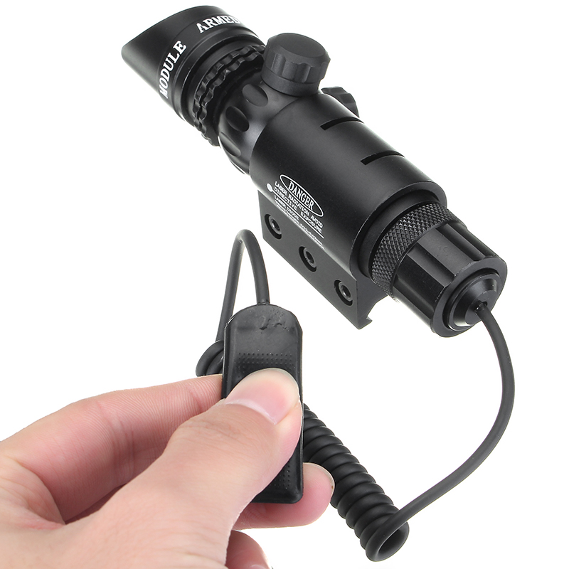 Red Laser Sight Beam Dot Sight Scope w/ Picatinny Rail & Barrel Mount Holder Remote Switch