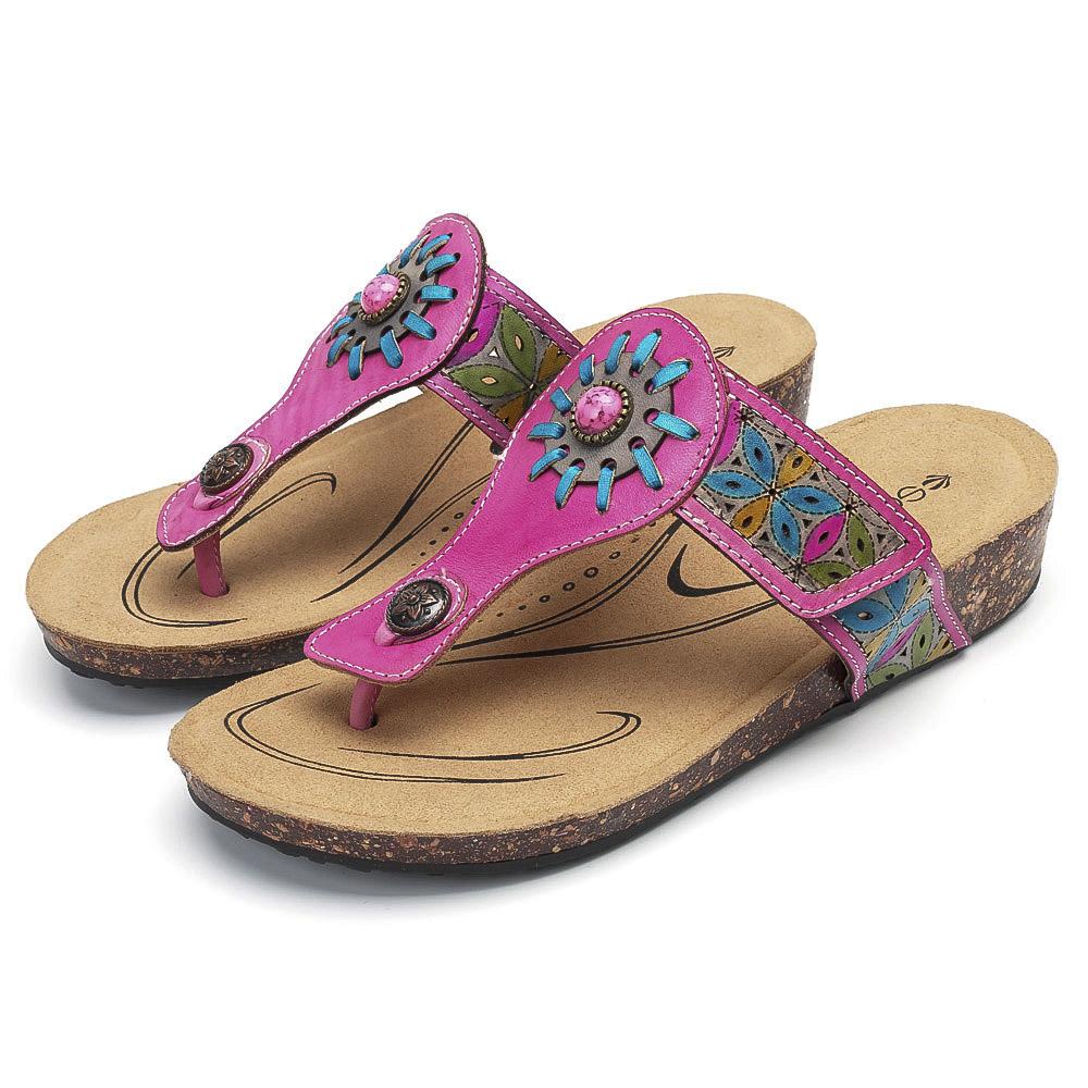 SOCOFY Adjustable Comfortable Flat Sandals