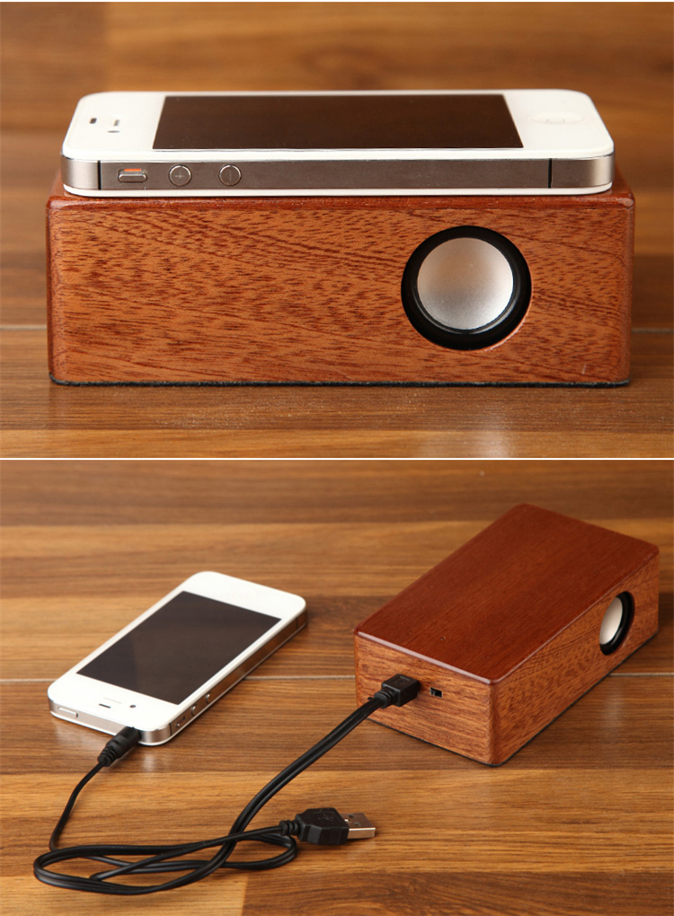 Magic Wireless Coupling Wooden Inductive Speaker For Cell Phone Tablet MP3
