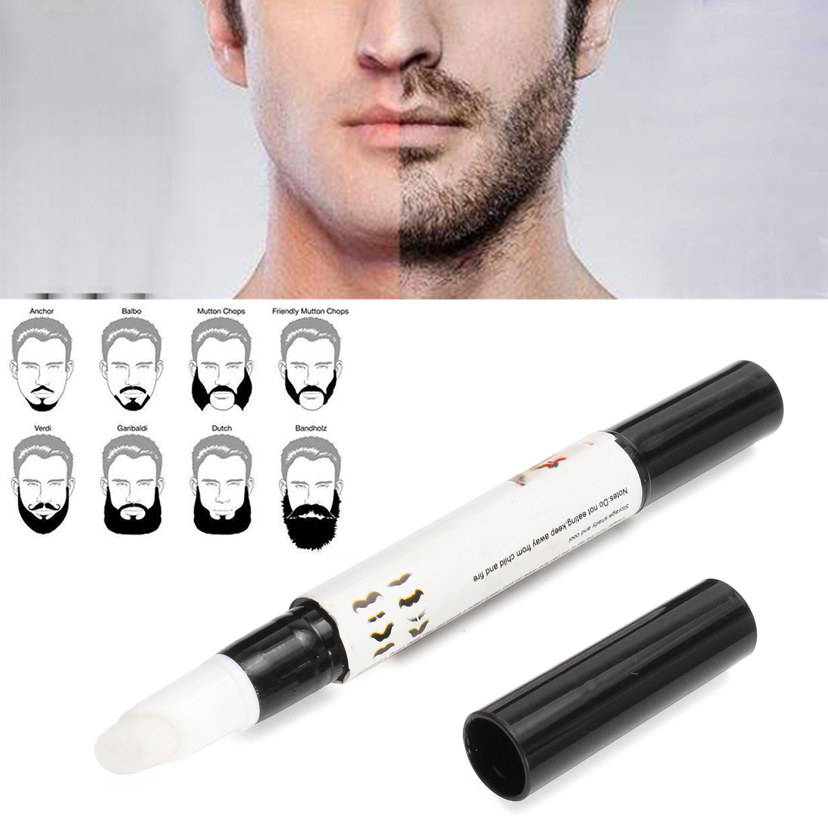 3pcs Natrual Beard Growth Pen Facial Hair Mustache Sideburns Eyebrow Enhancer Cream