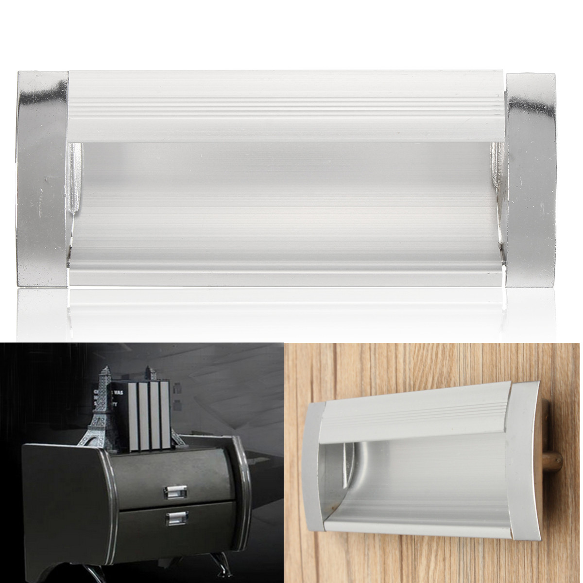 Aluminium Alloy Cupboard Drawer Pull Handle Rectangular Cabinet Handle