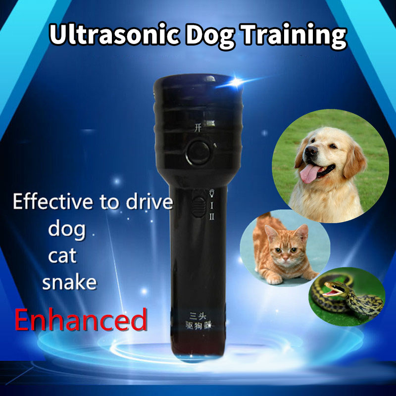 Ultrasonic High-power Dog Training Collar Outdoors Remote Trainer Drive Dog Cat Snake Stop Barking Outside Flashlight