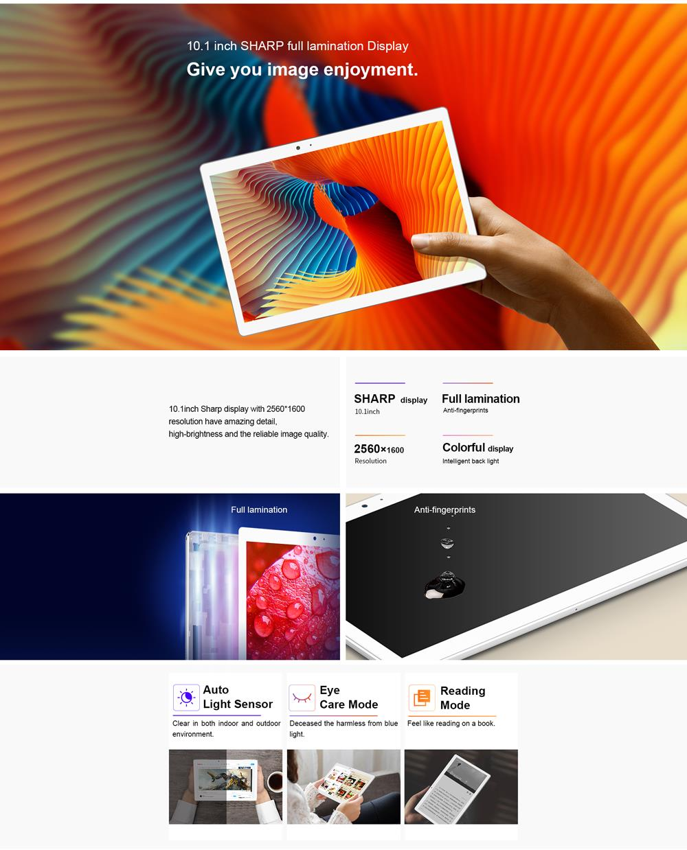 Teclast T20 Helio X27 Deca Core 4GB RAM 64G Dual 4G SIM 13MP Camera Android 7.0 OS 2.5K Screen 10.1 Inch Tablet