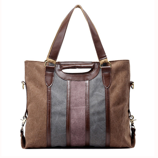 Women Contrast Color Canvas Tote Handbags Casual Shoulder Bags Crossbody Shopping Bags