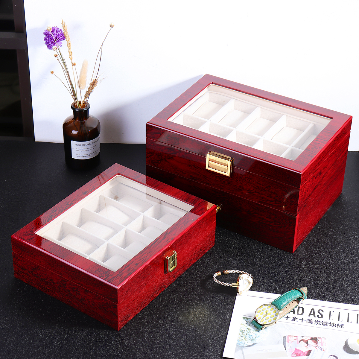 10/20 Grids Wooden Watches Display Case Jewelry Box Collection Storage Holder Box