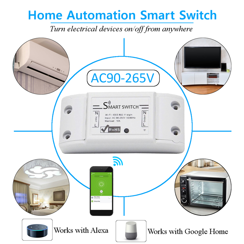 LUSTREON AC90-250V WiFi APP Relay Module DIY Smart Home Automation Light Switch Work With Amazon Alexa Google