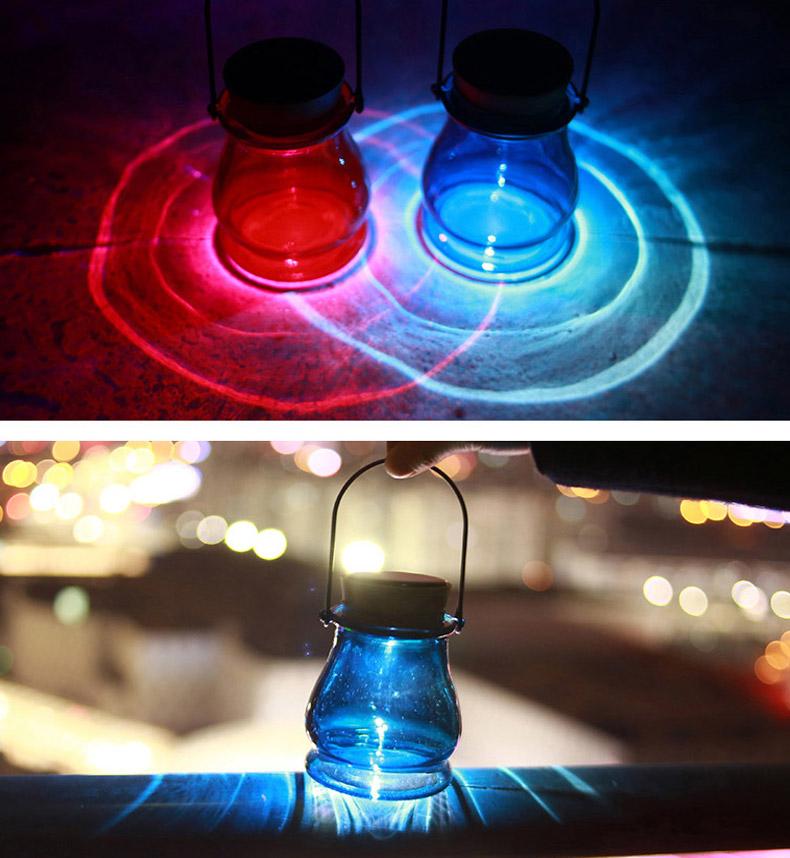 Hanging Solar Power Glass Bottle LED Light Garden Balcony Patio Waterproof Aurora Night Lamp