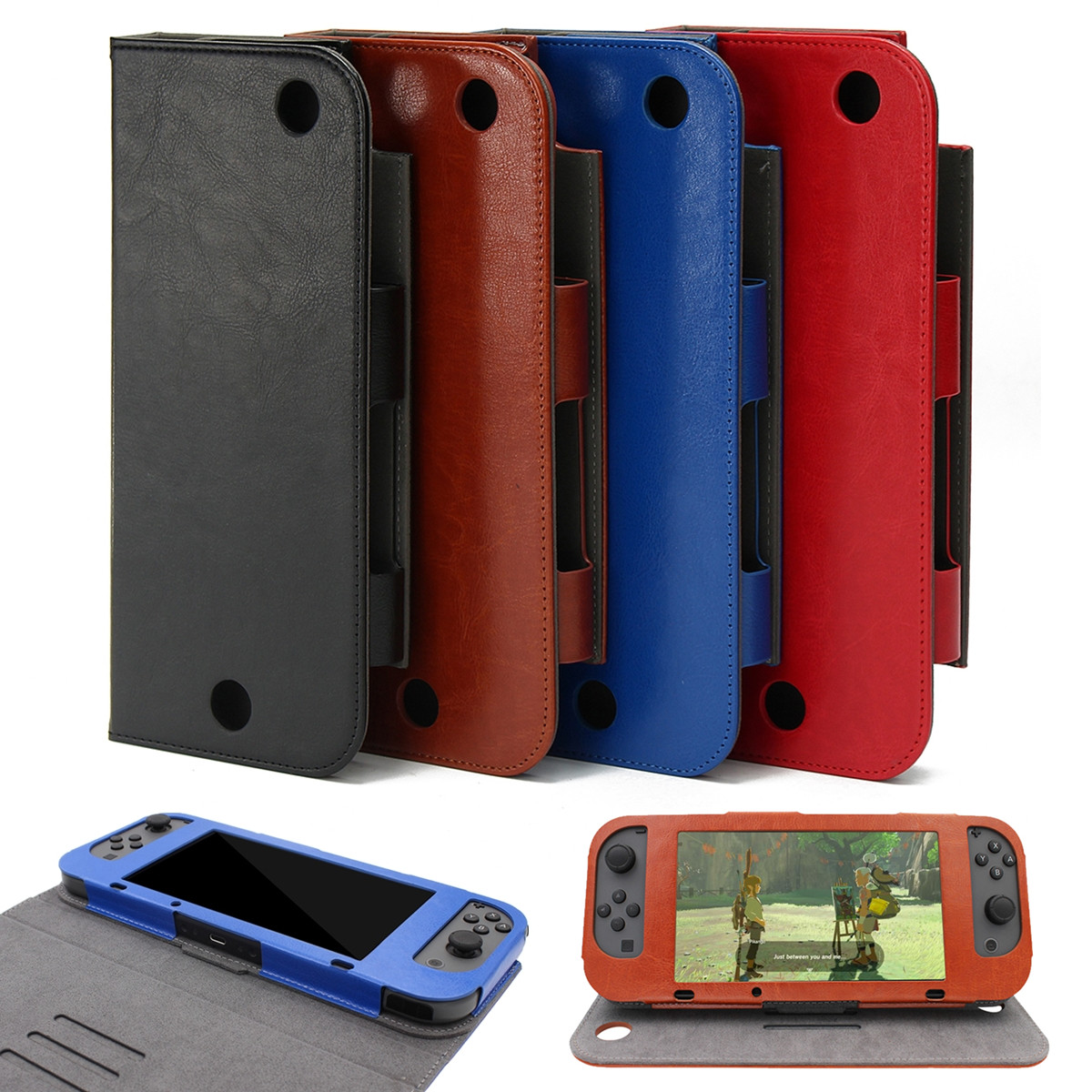 Magnetic PU Leather Protective Case Cover Skin Sleeve Stand For Nintendo Switch Game Console 24