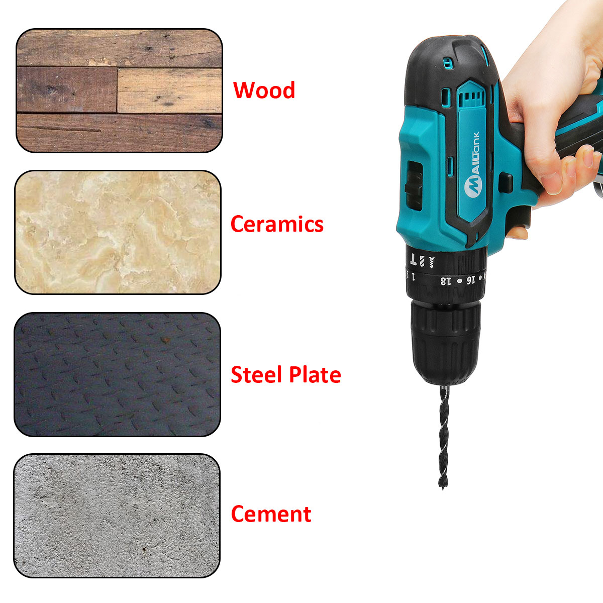 32V 2 Speed Power Drills 6000mah Cordless Drill 3 IN1 Electric Screwdriver Hammer Hand Drill 2 Batteries