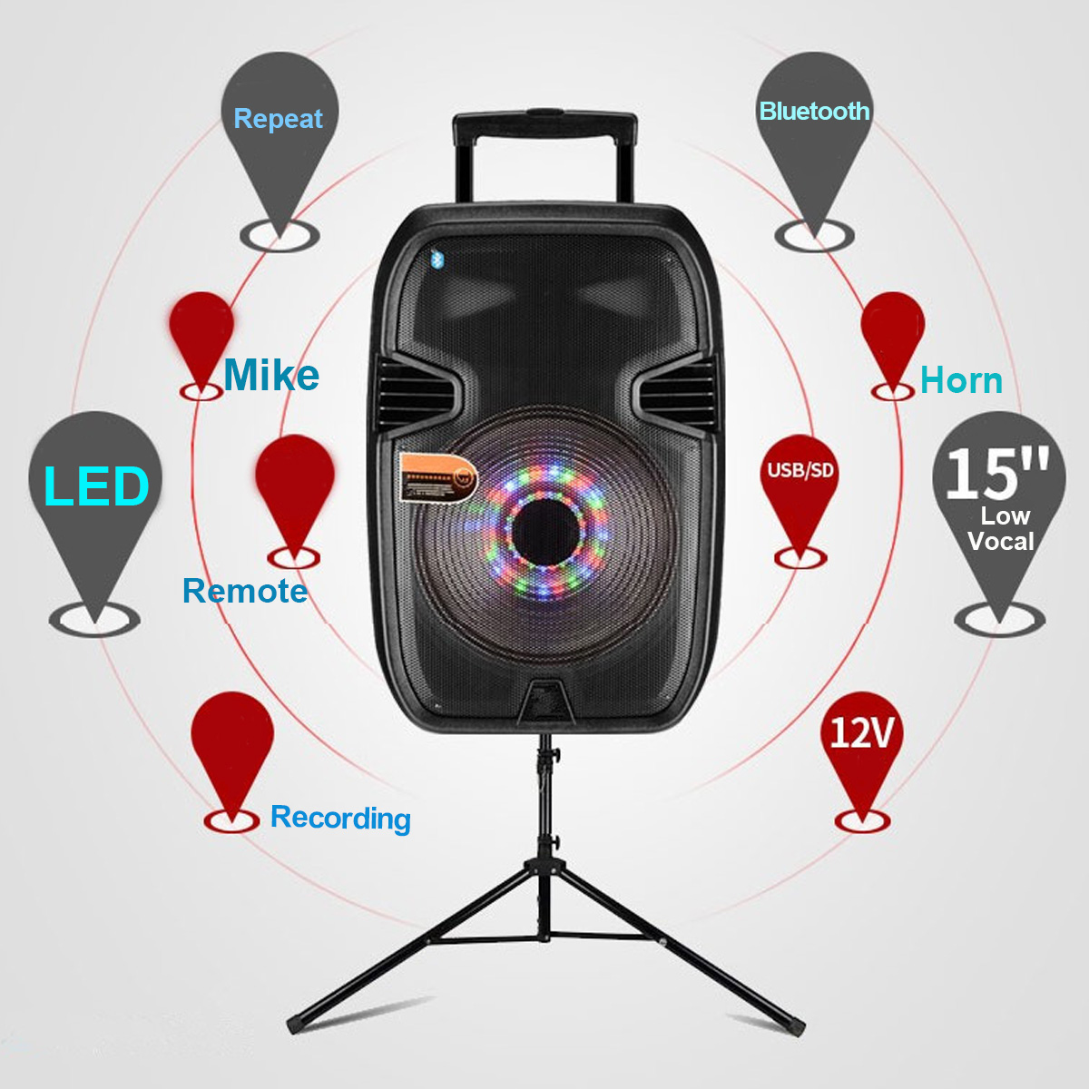 15 Inch bluetooth Portable KARAOKE DJ Square Dancing Speaker with LED Lights Microphone