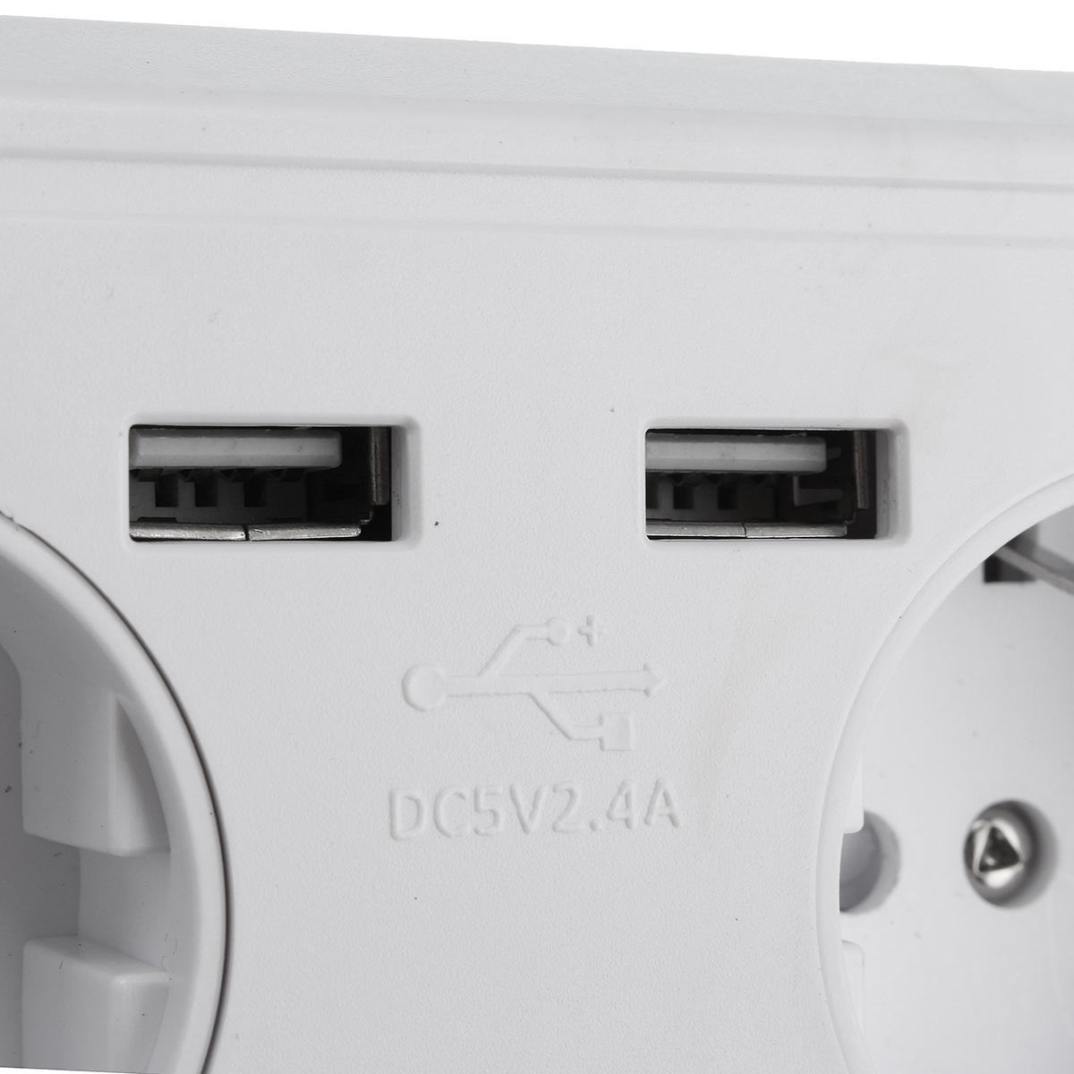 2.4A Dual USB Port EU Electric Wall Charger Station Socket Adapter Power Outlet