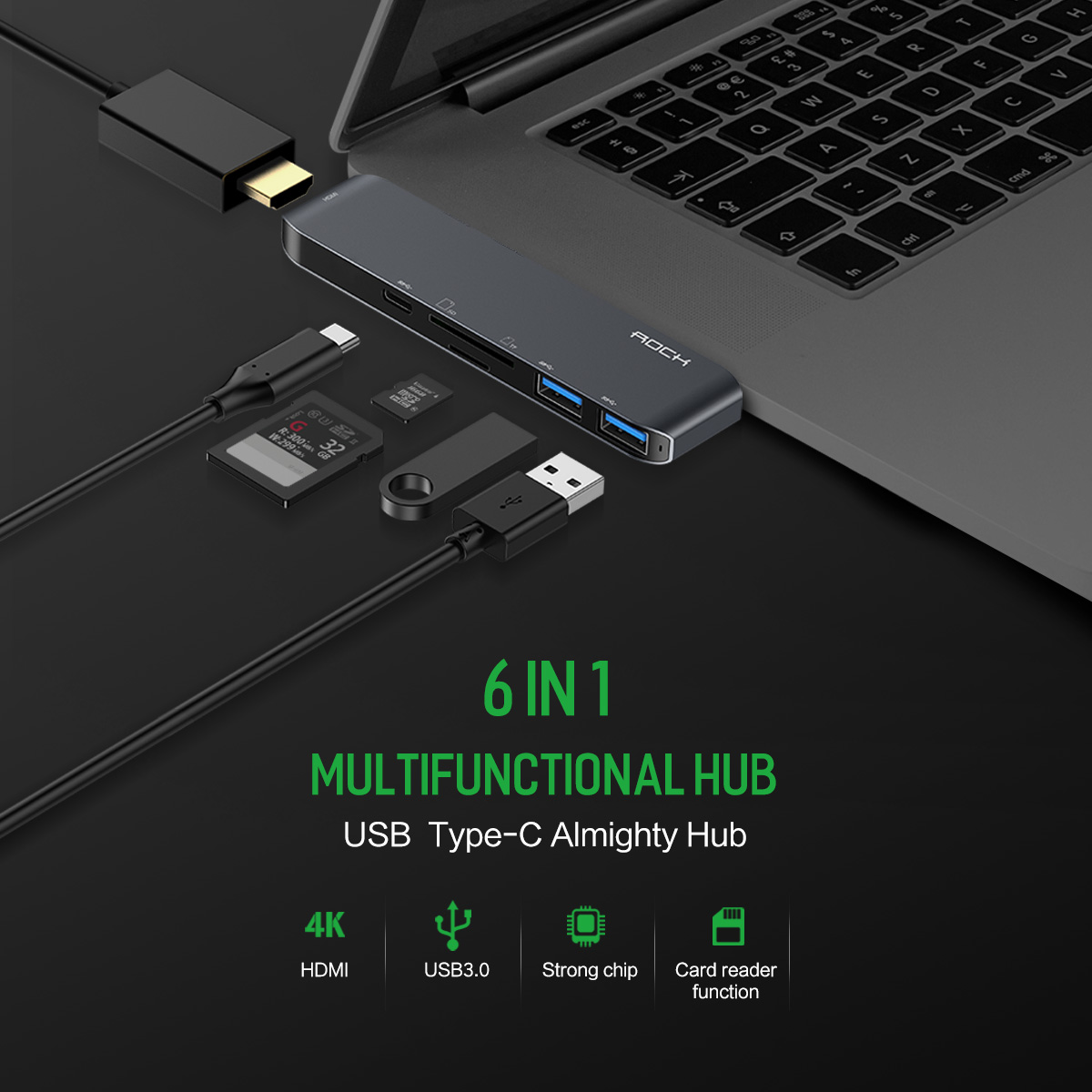 Rock Type-C To 4K HDMI / 2 Ports USB 3.0 USB Hub / Type-C Hub / TF/SD Card Slot Adapter