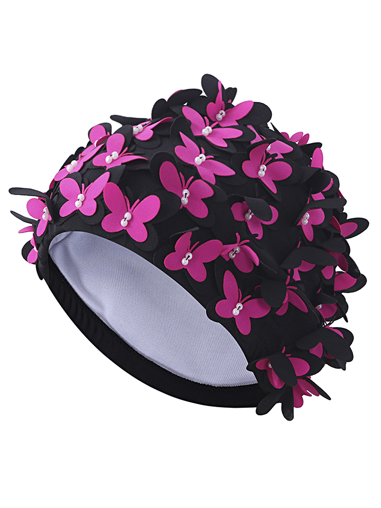 Cute Double Butterfly Pearl Manual Patchwork Stretchy Waterproof Swimming Cap