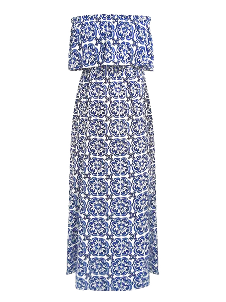 S-5XL Boho Floral Print Off-shoulder Women Maxi Dress