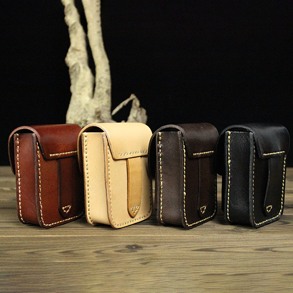 Men Genuine Leather Casual Cigarette Case Lighter Bag