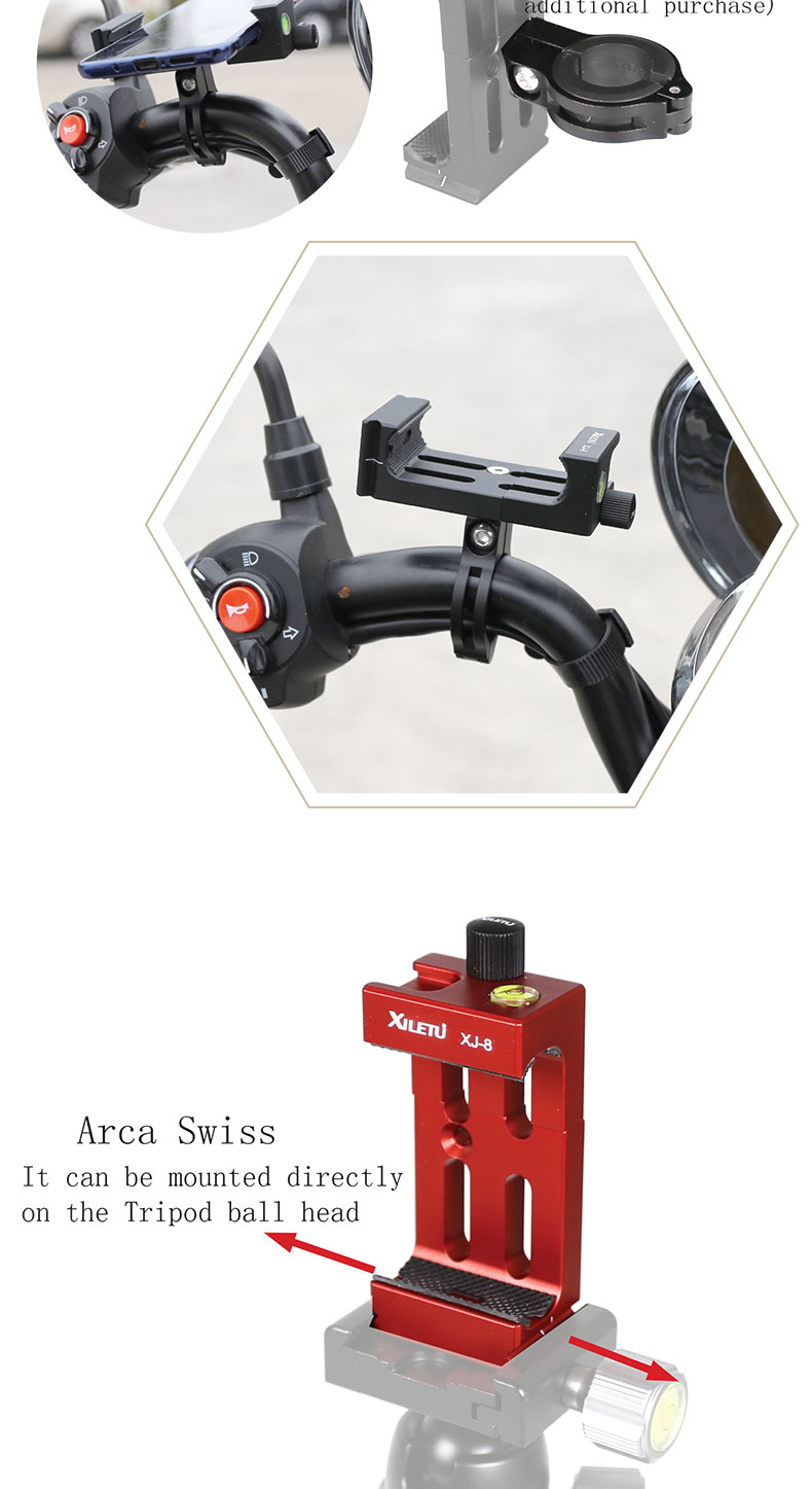 Universal 4.7-6 Inch Smartphone Clamp Mount Bracket Holder with 1/4 Screw Hole For Multi Hot Shoe