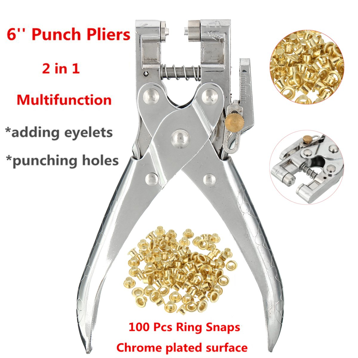 6 Inch Eyelet Grommet Setter Hole Punch Pliers Steel Fabric Canvas Repair Tool Kits