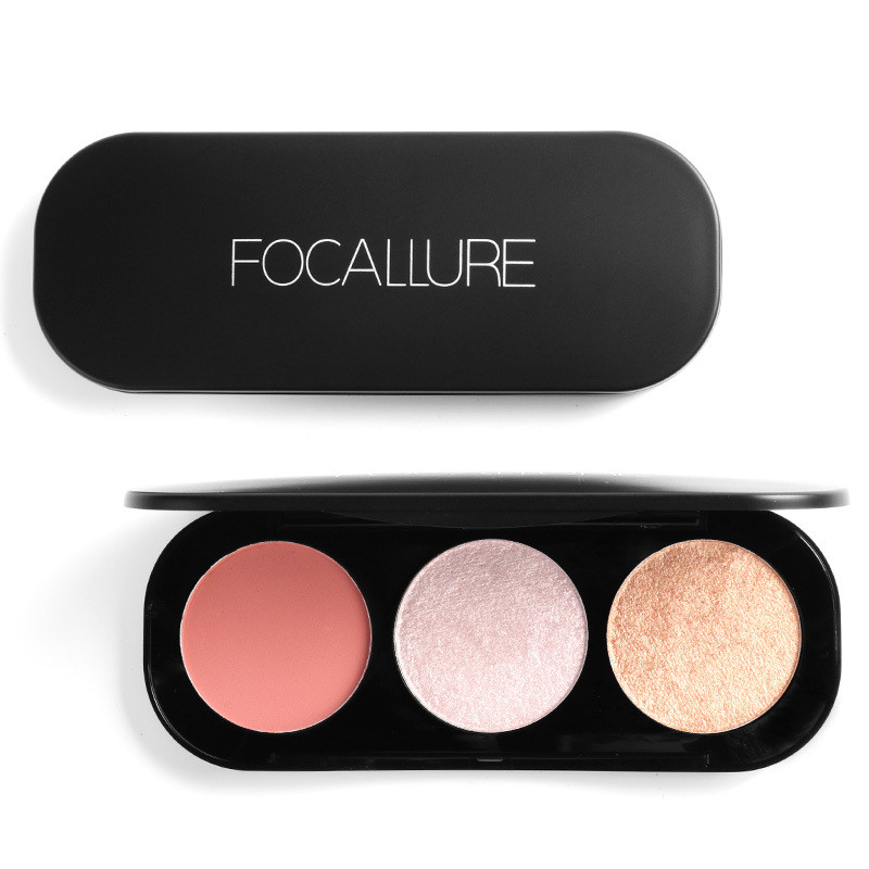 FOCALLURE 3 Colors Blush Highlighter Palette Face Conto