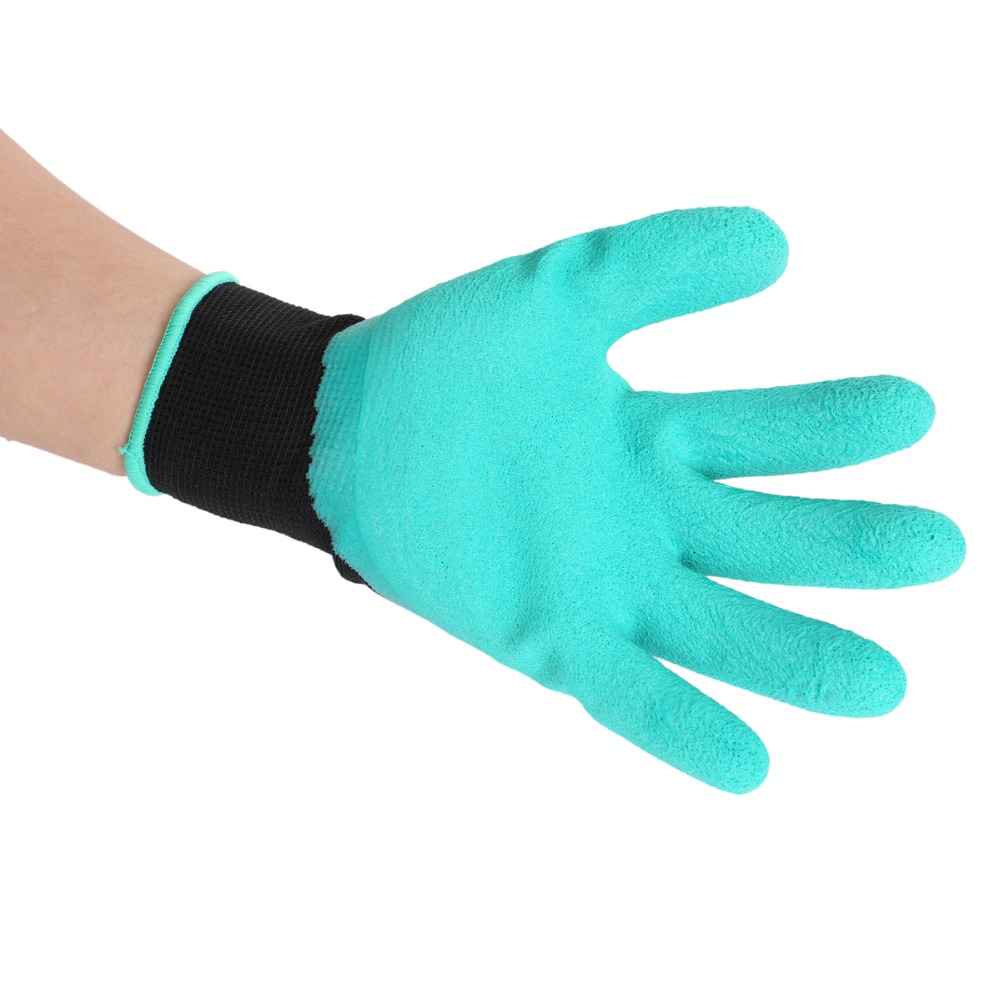 KCASA 1 Pair New Gardening Gloves for Garden Digging Planting with 4 ABS Plastic Claws Garden Working Accessories Green Rubber Polyester Builders Garden Work Latex Gloves