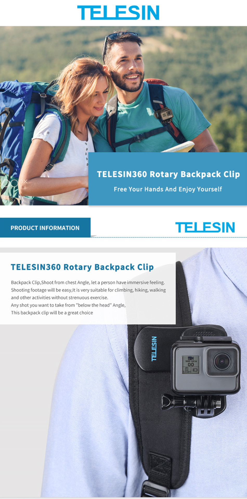 Telesin GP-JFM-003 Quik Release 360 Rotary Backpack Clip Mount for GoPro Xiaomi Action Sport Camera