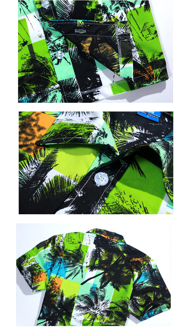 Mens Hawaiian Style Coconut Tree Printing Casual Beach Printing Breathable Casual Shirts