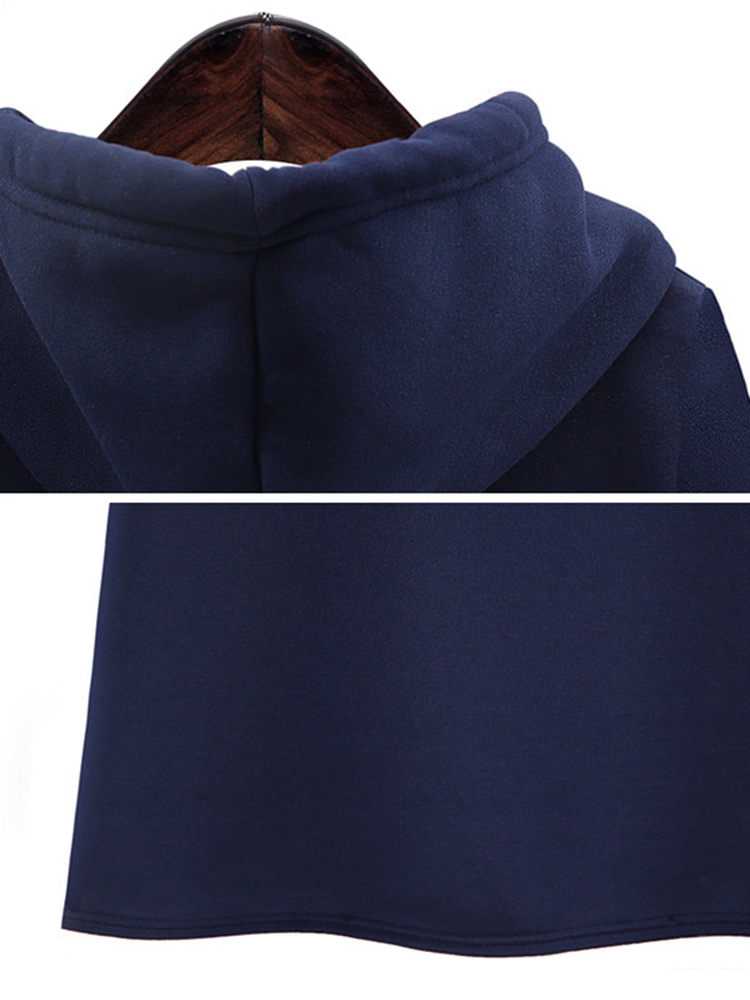 Casual Women Slim Pure Color Hooded Long Sleeve Thicken Hoodies