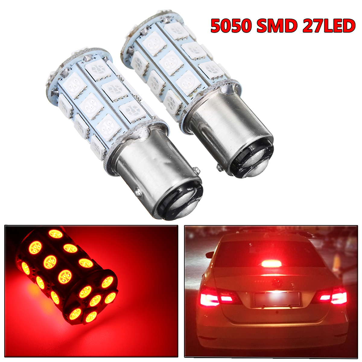 2pcs 12V BAW15D 5050SMD 27LED Car Red Brake Lights Bulbs Universal Reverse Stop Tail Lamp Bulbs