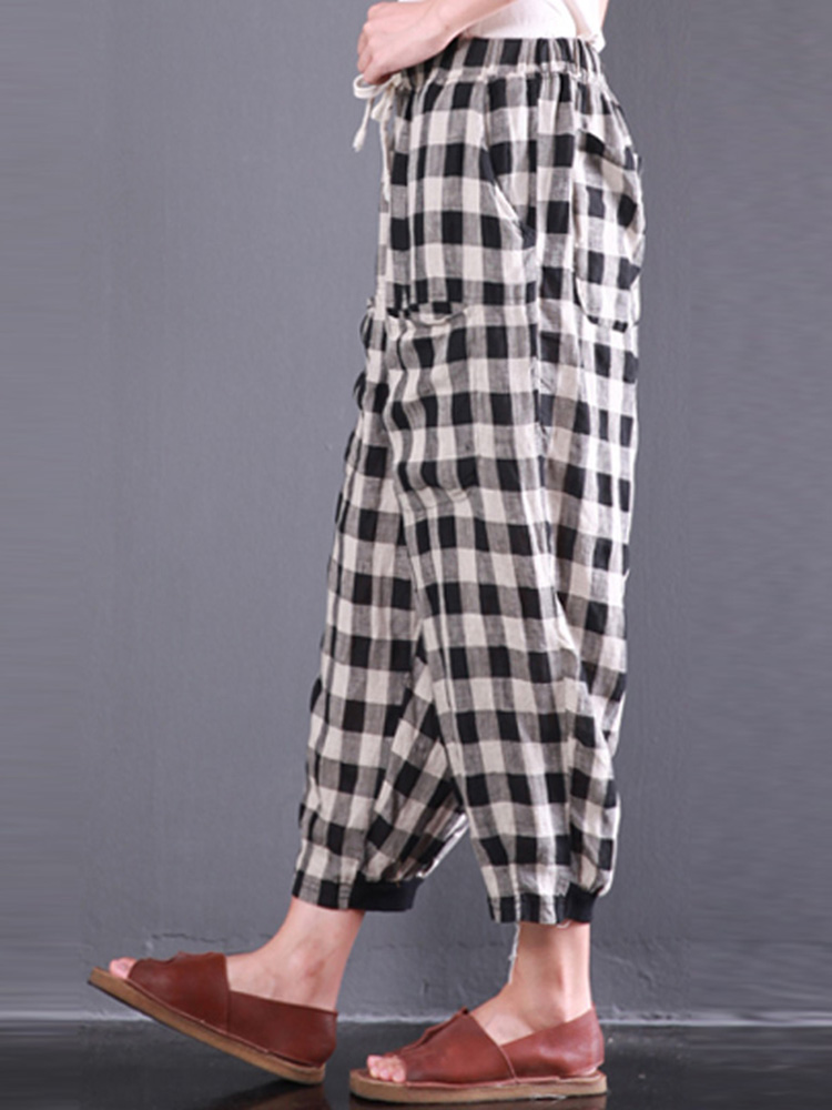 M-5XL Casual Women Plaid Elastic Waist Pants