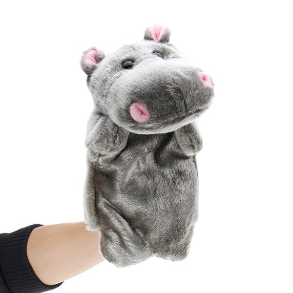 27cm Baby Plush Toys Cute Cartoon Hippo Hand Puppet Baby Kids Doll Plush Toy Hand Puppets