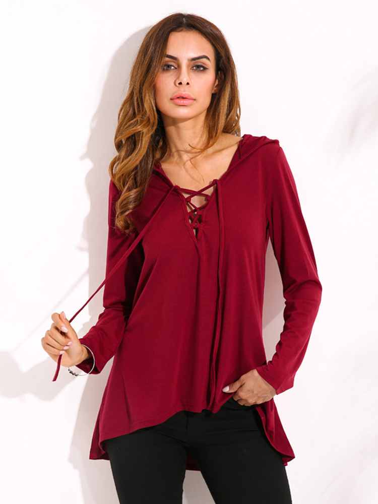 Loose Women Solid Lace Up V Neck Long Sleeve Hooded T-Shirts